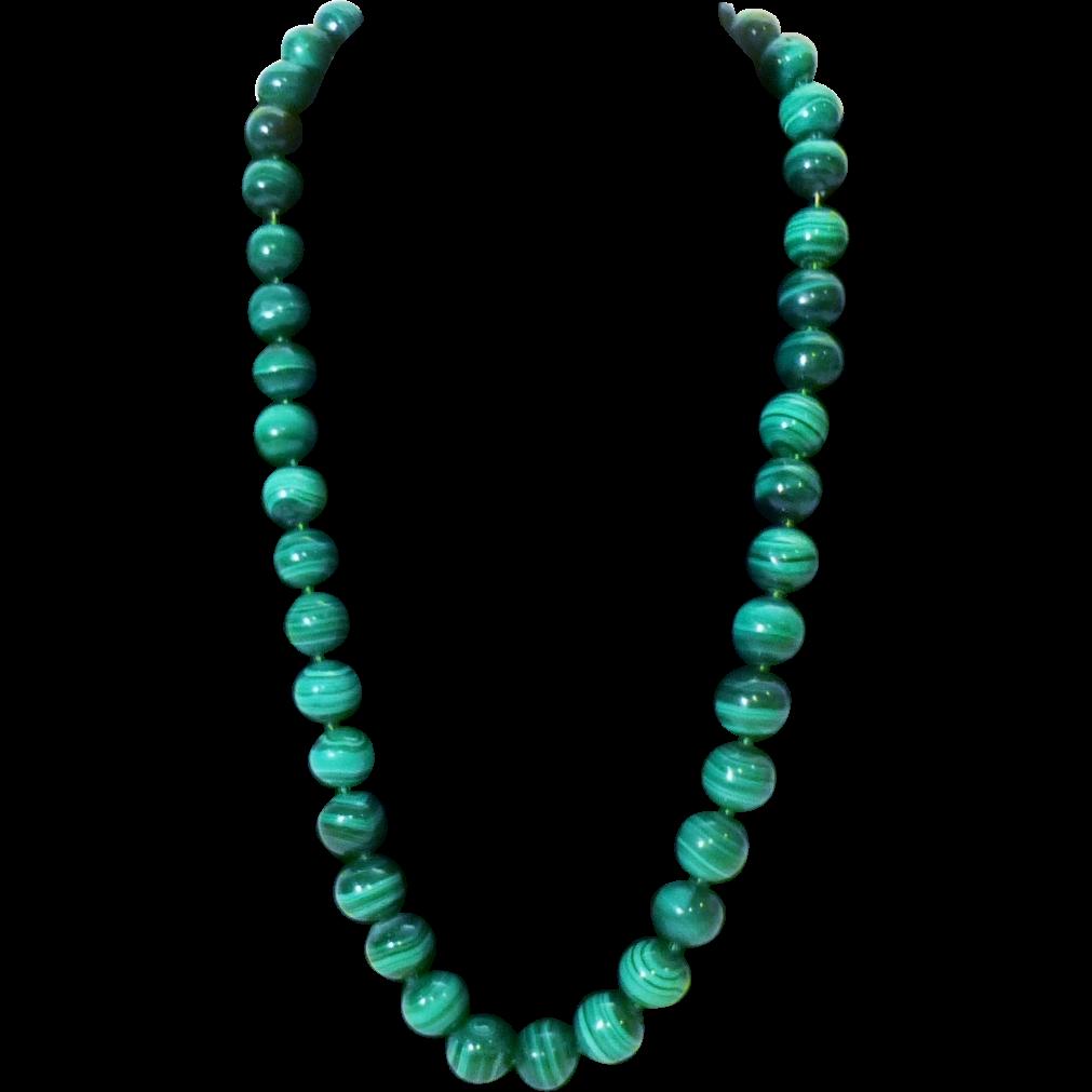 beautiful authentic malachite bead necklace from rubylane