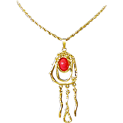 Modern 'Debose' Pendant Necklace Red and Gold-Tone