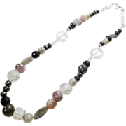 Belgian Vincenti Necklace in Glass, Natural Stone and Acrylic