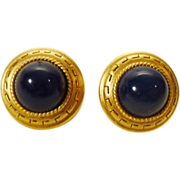 Oscar de la Renta Earrings - Greek Key in Gold Tone and Navy