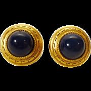 Oscar de la Renta Earrings - Greek Key in Gold Tone and Navy