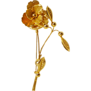 Lovely Gold Tone Floral Brooch
