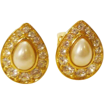 Trifari Teardrop Earrings in Faux Pearl, Pave Crystal and Gold-Tone