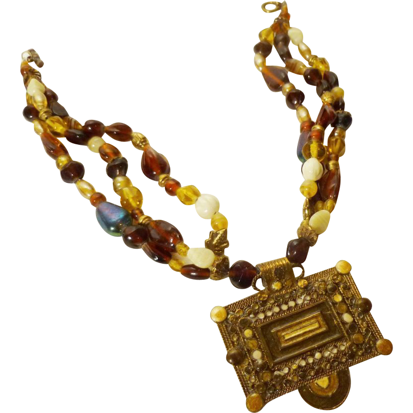 Gorgeous Tribal Necklace in Brass and Glass