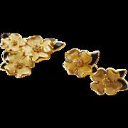 MINT! 80s Trifari Dogwood Brooch and Earrings