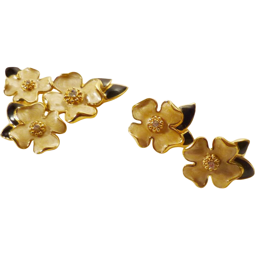 MINT! 80s Trifari Dogwood Brooch and Earrings