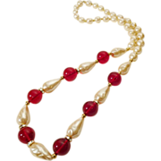 Elegant Faux Baroque Pearl and Ruby Red Bead Necklace