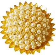 Beautiful HAR Sunburst Brooch in Faux Pearl and Crystal
