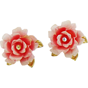 Designer Rose Petal Earrings with Crystal