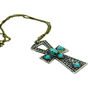 Egyptian Revival Necklace with Turquoise Colored Cross & Scarab Pendant
