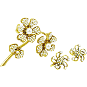 HAR Flower Brooch in Faux Seed Pearl and Earrings