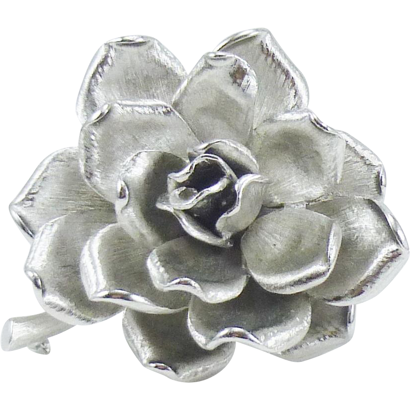 Outstanding 3-D Kramer Brooch in Polished and Matte Silver Tone - MINT!!