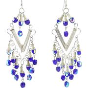 Breathtaking Blue Aurora Borealis Bead Chandelier Earrings