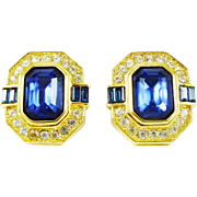Gorgeous Oscar de la Renta Earrings in Sapphire-Blue, Crystal and Gold-Tone