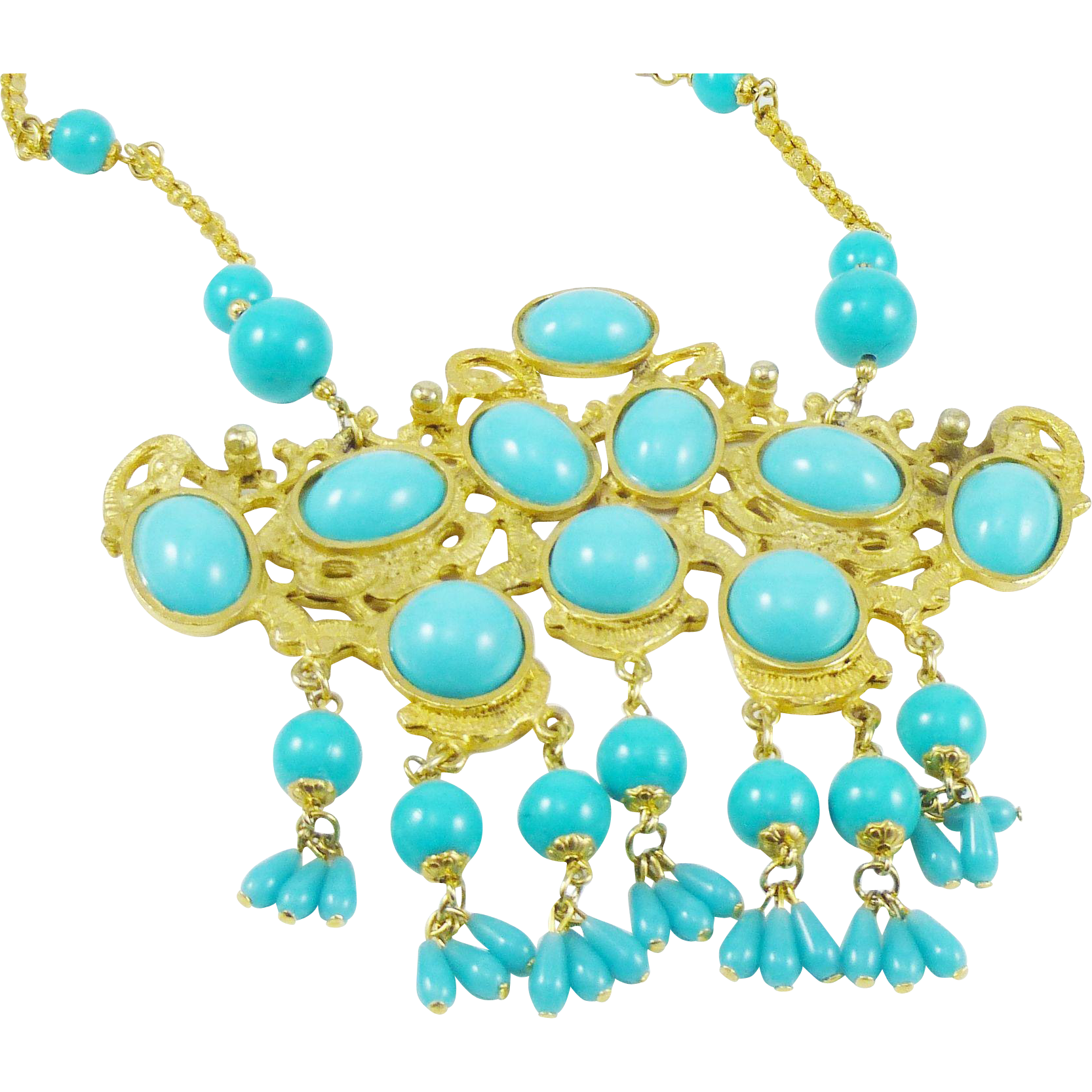 Cleopatra Goddess Necklace in Faux Turquoise and Gold Tone