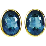 Christian Dior Earrings in London Blue and Gold Tone