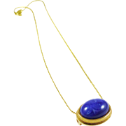 Faux Lapis Slider Pendant in Gold Tone - AVON & Trifari