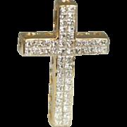 Princess Cut Diamond Cross Invisible Set 1.25 cttw 18K Yellow Gold