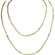 "Vintage Handmade 18K Chain 40"" Solid Links"