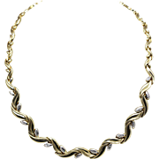 14K Yellow & White Gold Necklace 17""