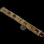 """Wide Mesh Bracelet with Gemstones in 18K 52 Grams 7 1/2"""""""