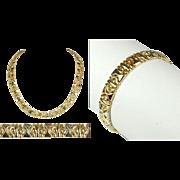 Tri Color Matching Necklace and Bracelet 18K