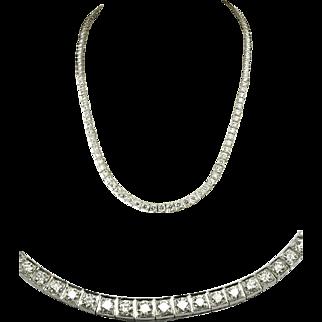 "9 Carat Diamond Tennis Necklace 18K White Gold 16"""