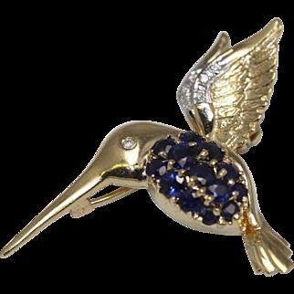 Hummingbird Pendant - 14K  Sapphire, Diamond