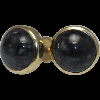 Black Jade Stud Earrings - 14K Yellow Gold