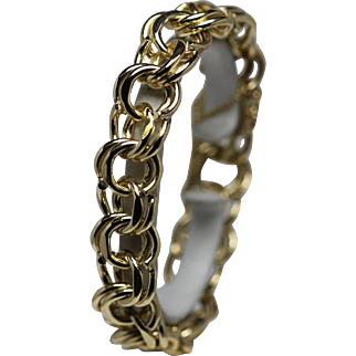 Vintage Traditional Charm Bracelet Double Link Solid 59.37 grams Heavy 14K Yellow Gold