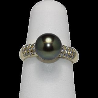 "Vintage Tahitian ""Peacock"" Black Pearl Diamond Ring - 18K Yellow Gold"