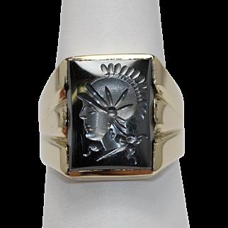 Classic Intaglio Ring Hematite 10K