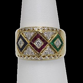 Ruby, Emerald, Sapphire Diamond Ring -18K Wide Flat Cigar Band Style 9.5
