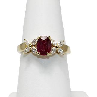 Ruby Diamond Ring Oval Marquise 18K