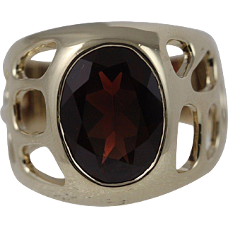 Garnet Men's Ring 14K Heavy Size 14