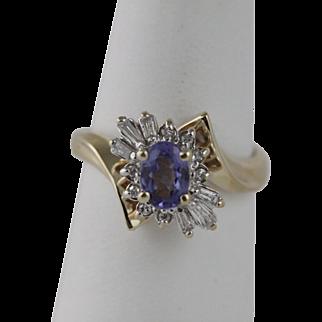 Tanzanite and Diamond Ring 14K