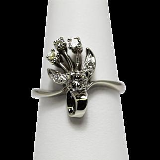 Vintage Diamond Ring 14K Ribbon Floral Spray Motif
