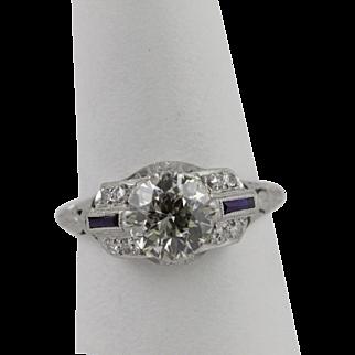 Art Deco European Cut Diamond Platinum Ring