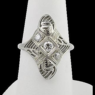 Art Deco Diamond 18K White Gold Ring