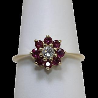 Vintage Ruby Diamond Floral Cluster Ring 14K