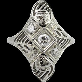 Art Deco Diamond Ring 18K White Gold