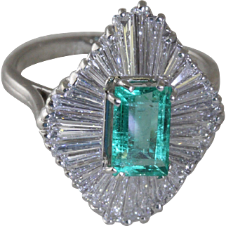 Emerald Diamond Platinum Ballerina Ring
