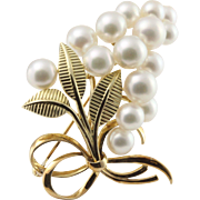"""Mikimoto Vintage Cultured Pearl Brooch 14K Yellow Gold 2"""" +"""