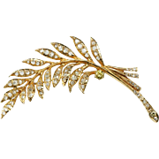 14K Yellow Brooch Pin With 1800s Rose Cut Diamonds
