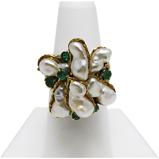 Fresh Water Pearls & Emerald Ring 14K Yellow Gold Ornate Design