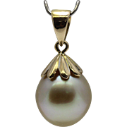 Cultured Golden South Sea Pearl Pendant 18K Gold