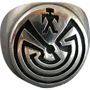 Signed Sterling Silver Navajo Man in the Maze Ring  11 1/2