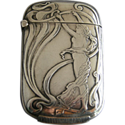 Art Nouveau Nude Woman Sterling Silver Match Safe Vesta - Red Tag Sale Item