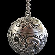 Ornate Repousse Sterling Silver Fradley Tea Ball (teaball)
