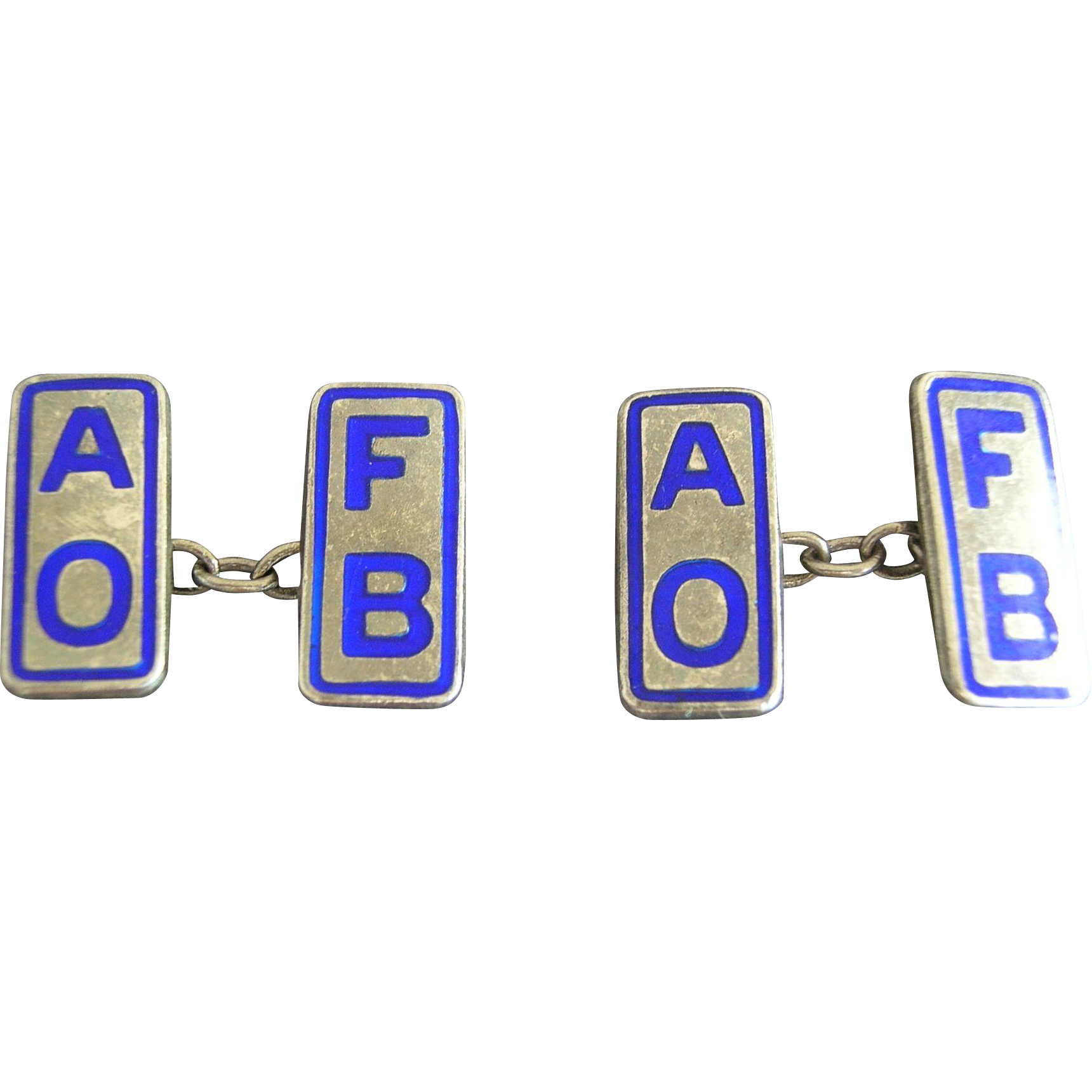 Silver Enamel (AOFB) Ancient Order of Froth Blowers Cufflinks